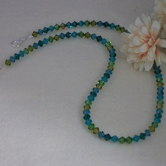Swarovski Crystal Bicone Necklace Of Blues