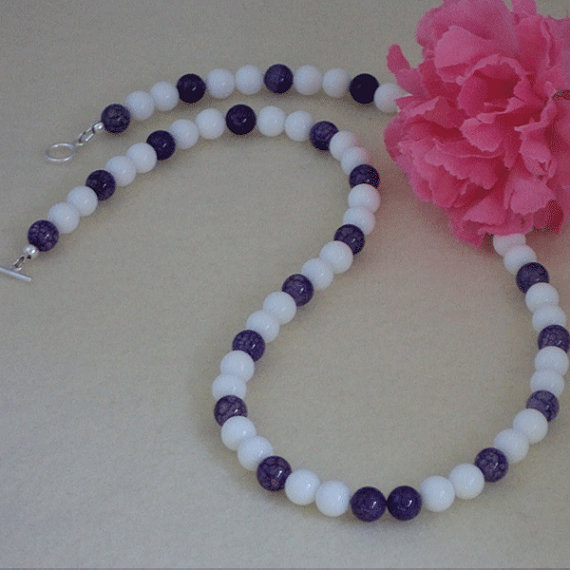White And Purple Agate Gemstone Necklace