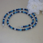 Swarovski Crystal Pearl Necklace In A Mixture Of Blues