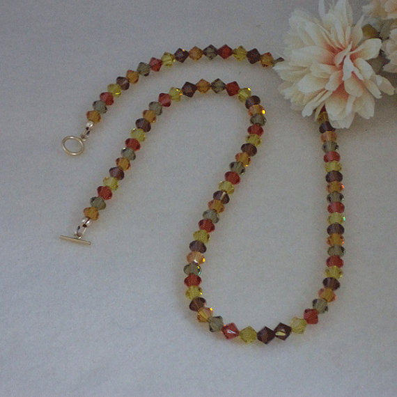 Swarovski Crystal Bicone Necklace In Festive Colors