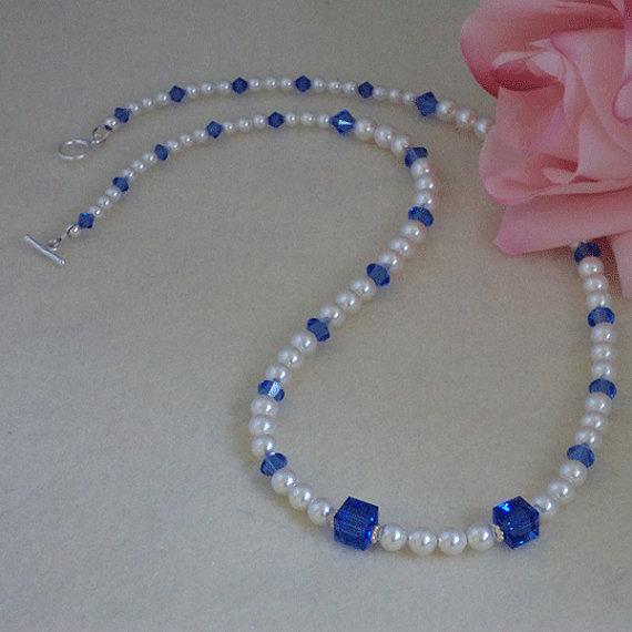 Swarovski White Pearl Necklace Accented With Swarovski Sapphire Crystal Beads