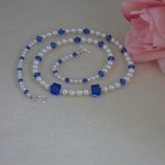 Swarovski White Pearl Necklace Accented With Swarovski Sapphire Crystal Beads