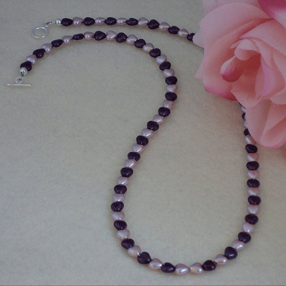 Glass Heart Pearlized Beads In Amethyst & Lavender Necklace