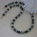 Light Tree Agate Gemstone Necklace Accented With Moss Agate Gemstone Beads