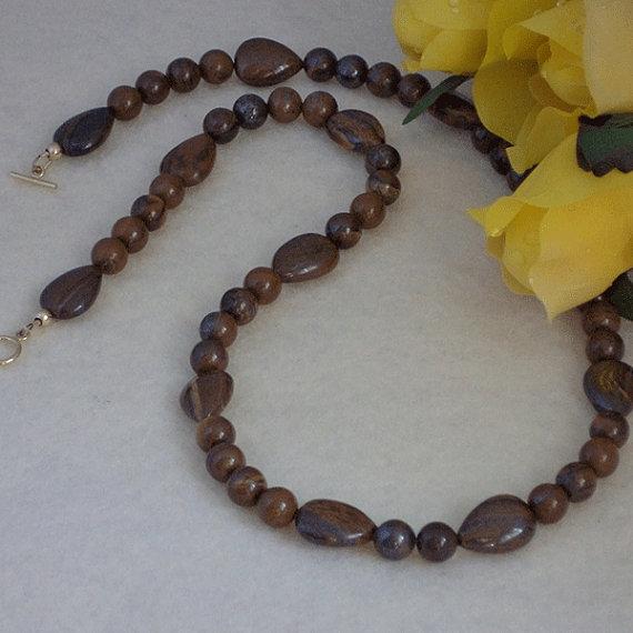Yellow Tiger Iron Gemstone Beaded Necklace