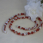 Necklace Of Hyacinth And Metallic Silver Crystal Rondelles