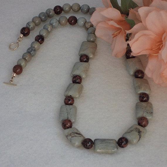 Silver Mist Gemstone Beaded Necklace