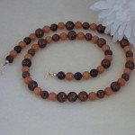 Red Adventurine Gemstone Necklace Accented With Mahogany Obsidian Gemstones