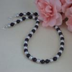 Swarovski Crystal Pearl Necklace In Black & Light Gray