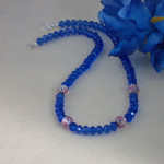 Sapphire Crystal Rondelle Necklace Accented With Lampwork Beads