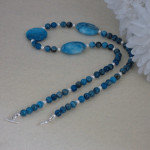 Blue Crazy Lace Agate Gemstone Necklace