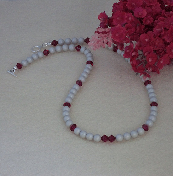 Swarovski Crystal Pearl Necklace In Pastel Gray
