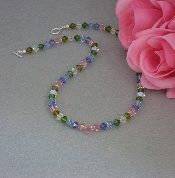 Colorful Swarovski Crystal Beaded Necklace