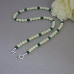 Swarovski Crystal Pearl Necklace In Pastel Green