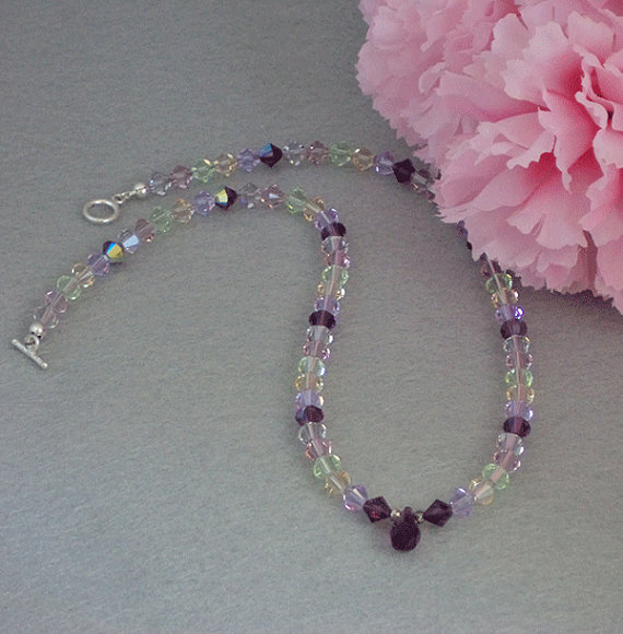 Swarovski Crystal Necklace In Delicate Colors