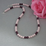 Swarovski Crystal Pearl Necklace In Pastel Rose