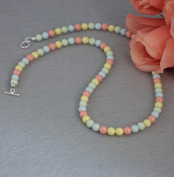 Swarovski Crystal Pearl Necklace In Pastel Colors