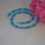 Necklace Of Aqua & Sky Blue Crystal Rondelles