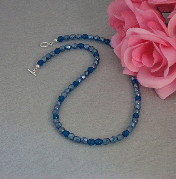 Czech Glass Beaded Necklace In Capri Blue