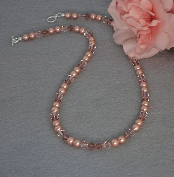 Swarovski Crystal Necklace In Rose Gold