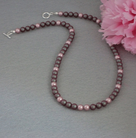 Swarovski Crystal Pearl Necklace In Iridescent Red