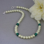Lime Green Glass Pearl Necklace With Lampwork Beads