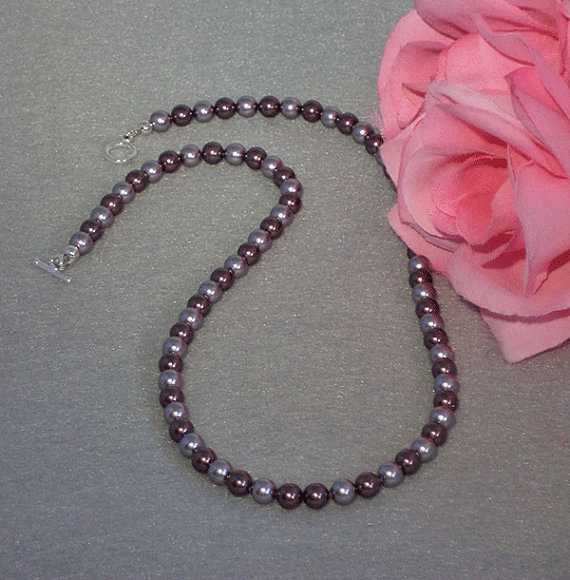 Swarovski Crystal Pearl Necklace In Burgundy & Mauve
