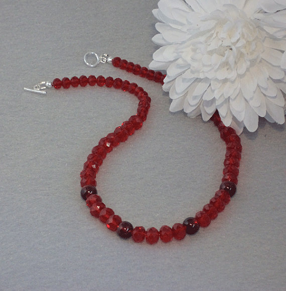 Garnet Crystal Rondelles With Lampwork Beads