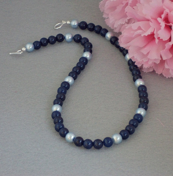 Dark Lapis Jade Gemstone Necklace