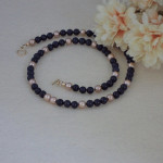 Blue Goldstone Gemstone Beaded Necklace