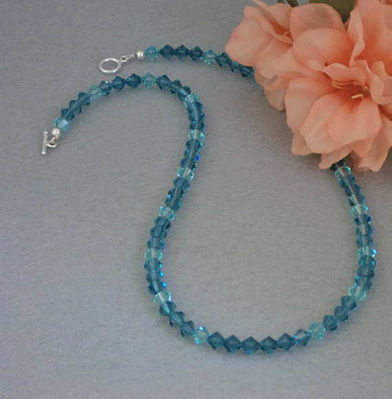 Exquisite Swarovski Beaded Necklace In Indicolite & Light Turquoise