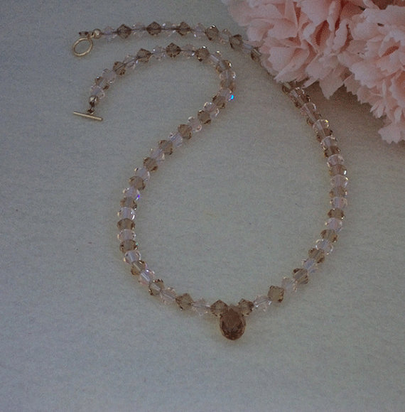 Swarovski Crystal Beaded Necklace In Light Colorado Topaz