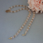 Swarovski Crystal Beaded Necklace In Light Colorado Topaz & Silk