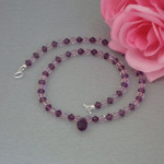 Swarovski Crystal Beaded Necklace In Light & Dark Amethyst
