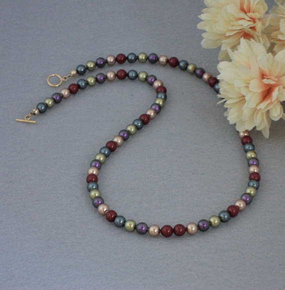 Swarovski Crystal Pearl Necklace In Brilliant Colors