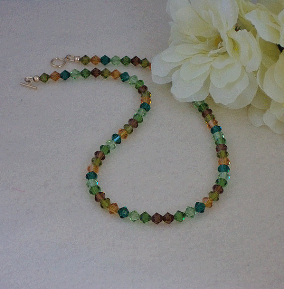 Swarovski Crystal Beaded Necklace In Magnificent Colors