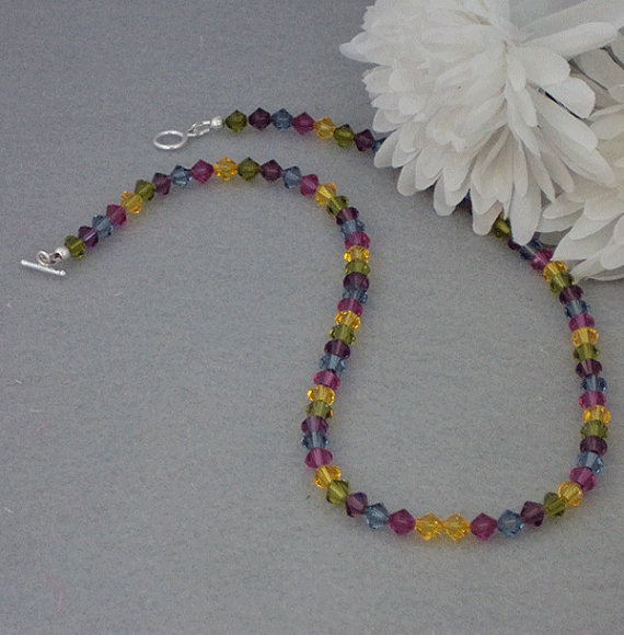 Swarovski Crystal Beaded Necklace In Radiant Colors