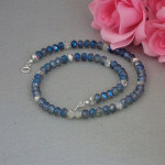 Necklace Of Luster Blue And Silver Crystal Rondelles