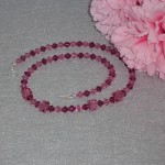 Swarovski Crystal Beaded Necklace In Fuchsia And Rose