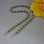 Swarovski Crystal Pearl Necklace In Iridescent Green