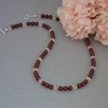Swarovski Crystal Necklace Of Bordeaux And Silk